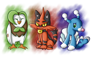 Grass Owl, Fire Cat and Water Sea Lion by SuperLakitu