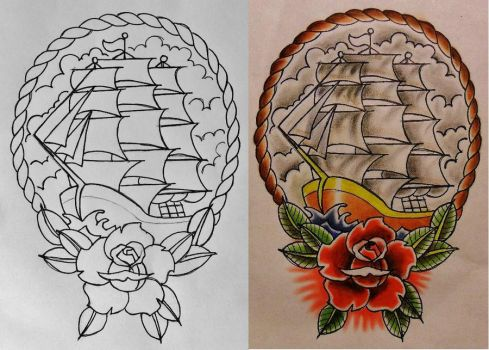 Ship, Rose, and Rope Design - Line and Color Flash by 814CK5T4R