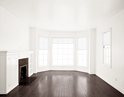 Empty Room - Dark Brown Floor - Fireplace - White  by Quryous