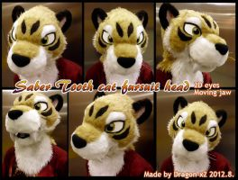 Saber tooth cat fursuit head [SOLD] by dragon-x2