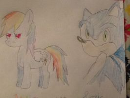 Rainbow Dash and Sonic by Moonstar2314
