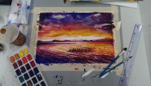 Lake Baringo Watercolor by tuonenjoutsen