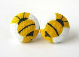 Bee earrings white yellow spring happy bumblebee by KooKooCraft