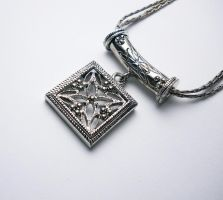 Antique Silver Square Necklace by LypticDesigns