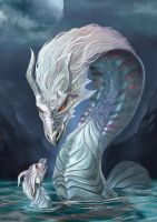 Water dragon - motherly love by Evolvana