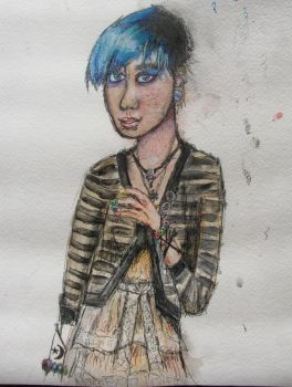 Girl With Skyblue Hair by YamaTheSpaceFish