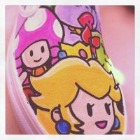 Paper Mario Custom Vans Girls by VeryBadThing