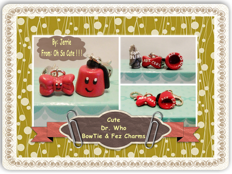Cute Kawaii Dr Who - BowTie and Fez Charms by jerrieshock
