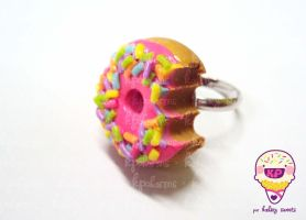 pink donut ring by KPcharms
