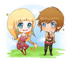 zelda and link . by rolly-kun