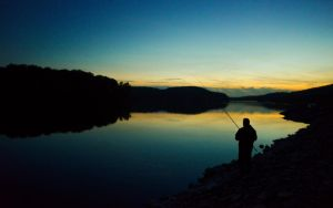 Angler am See by wolfgangbuhr