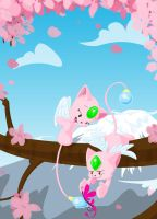 Playing in the Cherry Blossoms by KicsterAsh