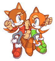 The Super Raccoon Sisters! - Luigine and Marine by Cylent-Nite