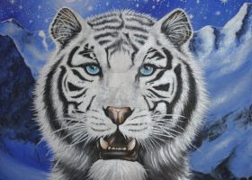 Snow Tiger by RozThompsonArt