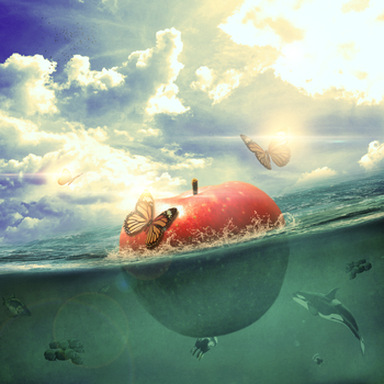Apple on sea by asterix32