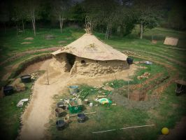 celtic roundhouse with clay in the garden by santosam81