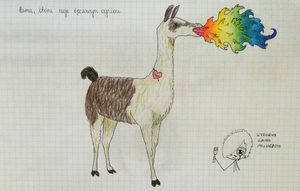 Lame that belches fire rainbow by YummyBiscuit