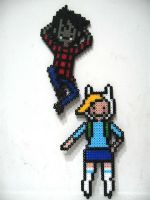 Marshall  Lee and Fionna perler by amberecho