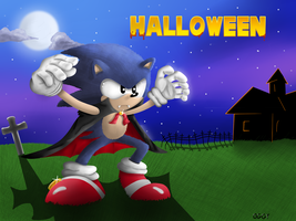 Classic sonic in Halloween costume by Oggynka