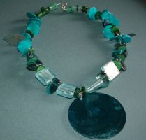 Giant Teal Shell Necklace by MollyD