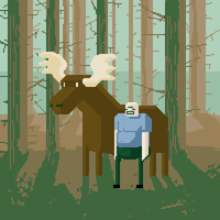 Moose and Man Pixelart by lookhappy