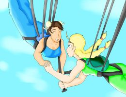 Chunli and Cammy Skydiving (REQUEST) by WilkyDaddy
