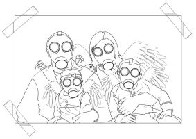 Gasmask Angel Family Photo by ChewedKandi
