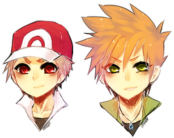 pokemon - red and green by onisuu