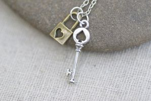 Tiny Key and Padlock Necklace by foowahu-etsy