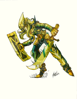 Valliant Knight of Blue and Gold by OlightningX
