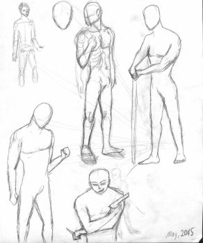 Male Pose Drawing Practice. May 2015 by YeOldeGod