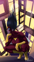 Spider-Woman Pondering on Her Life by BW-Straybullet