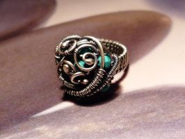 Turquoise silver coctail ring by Kreagora