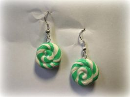 Miniature Peppermint Candy Earrings by Narxinba222
