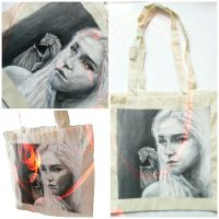 Handpainted tote bag Game of Thrones Daenerys by MadCandies