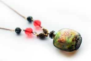 Green Poison Bottle Necklace by asunder