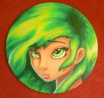 Mini Canvas - Green Haired Girl by Alise-arts