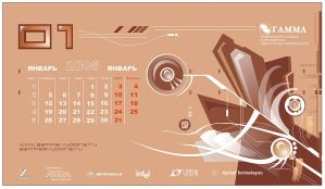 throw-over calendar    January by VBG