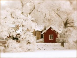 RedHouse in frosted woods by PinupsByGib