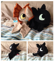 Cloudjumper and Toothless Plush by Glacdeas