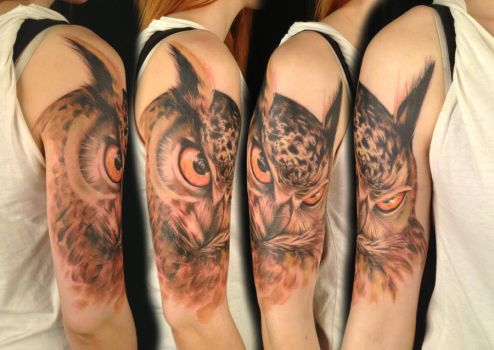 Freehand owl by viptattoo