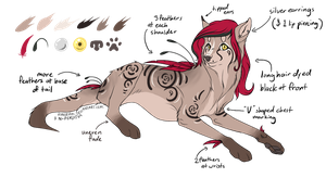 Red-feathered Wolf Design (AUCTION, CLOSED) by ChamberedNoctilus