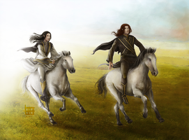 Riding Nelyafinwe and Findekano by AlaisL