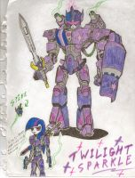 Twilight Sparkle Mech. Pen and Marker. by CommanderCanteets