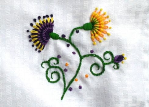 Embroidered Flowers by AmaniWarrington