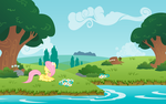 A beautiful day and Fluttershy by KennyKlent