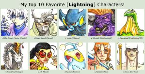 Top 10 Lightning Characters by fedde