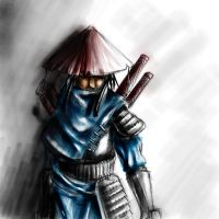 hooded samurai coloured by Delun