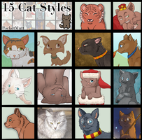 15 Different Cat Styles by i-Moosker