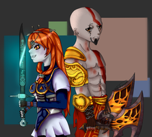 C- Midna and Kratos by GothKat11234